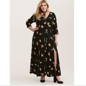Torrid M dress black floral crochet challis slits